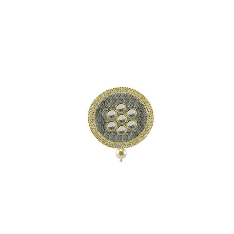 White Color Brass Kunudan Stud-Gold Platted Brooch - bro1665