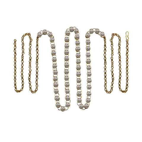 White Color Brass Stone Stud-Gold Platted Waist Chain - bro174