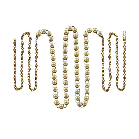 White Color Brass Moti-Gold Platted Waist Chain - bro188