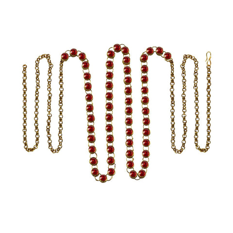 Red Color Brass Stone Stud-Gold Platted Waist Chain - bro192