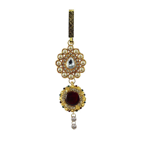 Golden Color Brass Stone Stud-Gold Platted Waist Key Chain - bro313