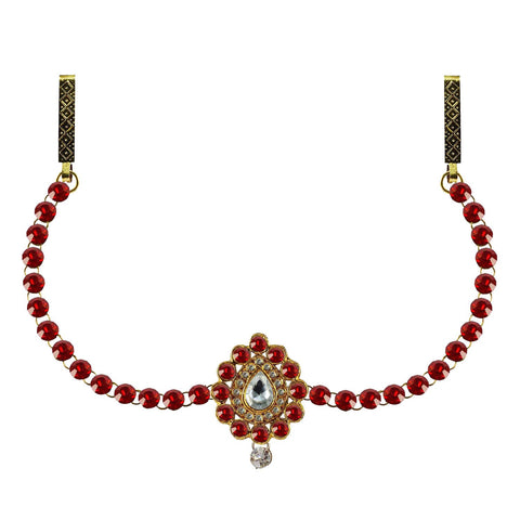 Red Color Brass Stone Stud-Gold Platted Waist Chain - bro340