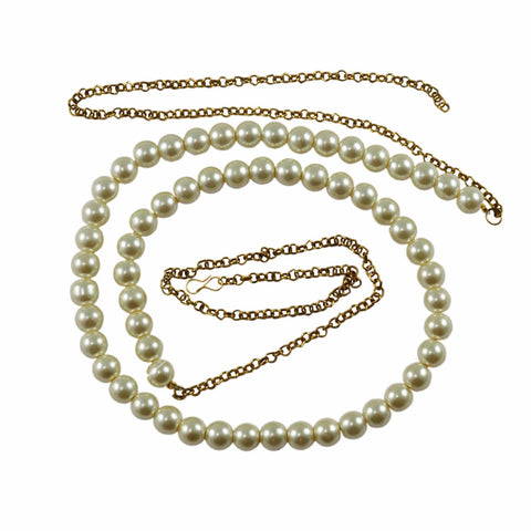 White Color Brass Moti-Gold Platted Waist Chain - bro526