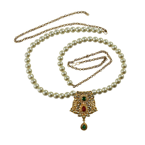 White Color Brass Moti-Gold Platted Waist Chain - bro735
