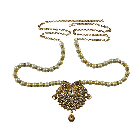 White Color Brass Moti-Gold Platted Waist Chain - bro741