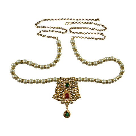 White Color Brass Moti-Gold Platted Waist Chain - bro742