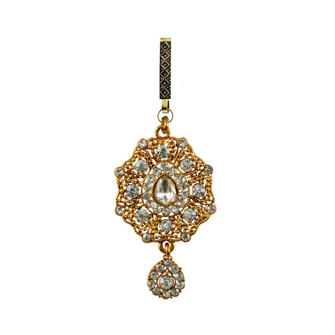 Golden Color Brass Stone Stud-Gold Platted Waist Key Chain - bro751