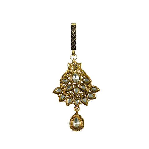 Golden Color Brass Stone Stud-Gold Platted Waist Key Chain - bro752
