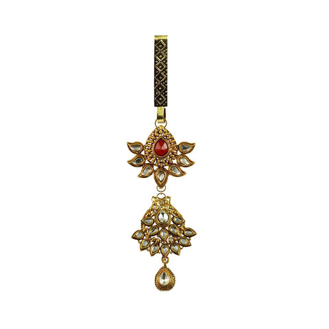 Multi Color Brass Stone Stud-Gold Platted Waist Key Chain - bro914