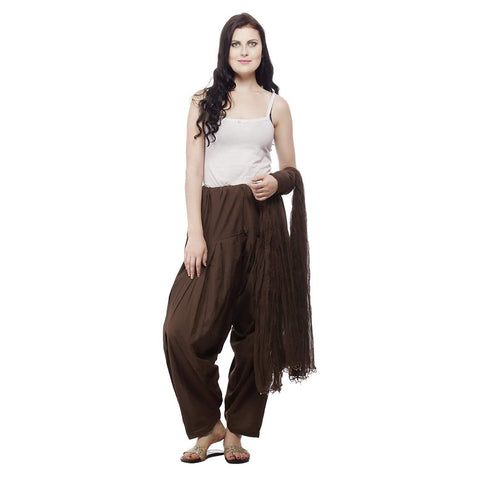 COMBOS - Brown Color Cotton Stitched Women Patiala Pant With Duppata - Brown