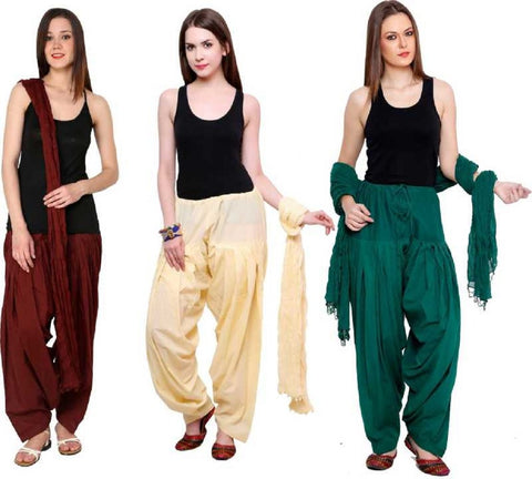 COMBOS - Brownbaigegreen Color Cotton Stitched Women Patiala Pants With Dupata - Brownbaigegreen