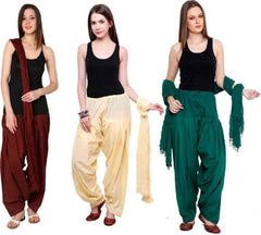 Buy COMBOS - Brownbaigegreen Color Cotton Stitched Women Patiala Pants With Dupata