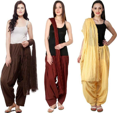 COMBOS - Brownbaigemaroon Color Cotton Stitched Women Patiala Pants With Dupata - Brownbaigemaroon