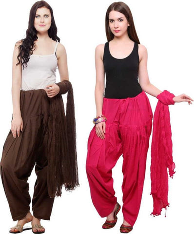 COMBOS - Brownrani Color Cotton Stitched Women Patiala Pants With Dupata - Brownrani