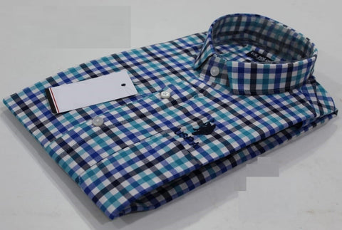 Green, Blue, Black & White Checked Pure Cotton Shirt -USPS-14