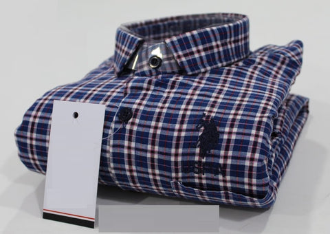 Blue Black White Maroon Stripes Pure Cotton Shirt -USPS-15