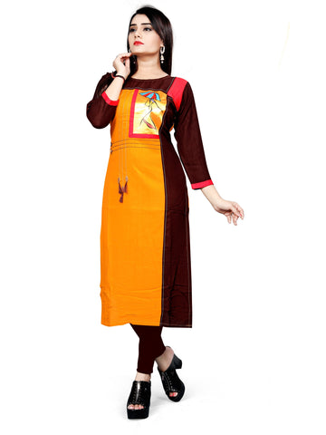 Brown Color Rayon Stitched Kurti - bt532141