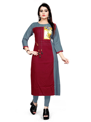 Maroon Color Rayon Stitched Kurti - bt532143