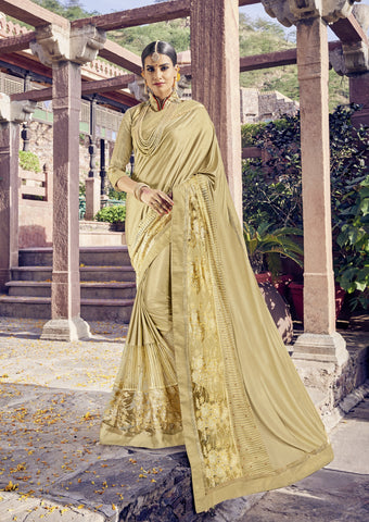 Gold Color Lycra and Net Saree - cat2114-24154