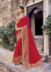Red Color Moss Chiffon Saree