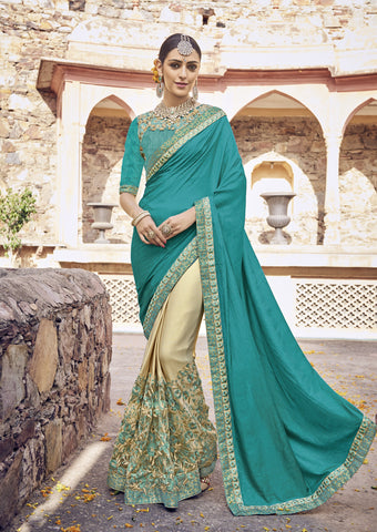 Green and Beige Color Silk Lycra and Net Saree - cat2114-24159