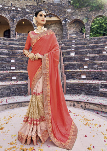 Orange and Pink Color Silk Lycra and Net Saree - cat2114-24162