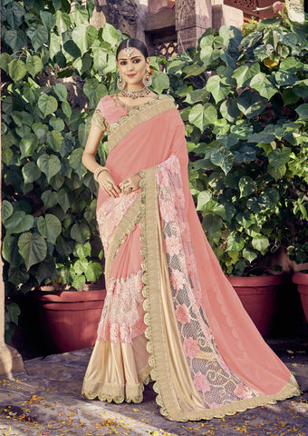 Pink Color Georgette Net and Lycra Saree - cat2114-24164