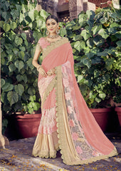 Pink Color Georgette Net and Lycra Saree