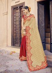 Gold and Red Color Jacquard and Moss Chiffon Saree
