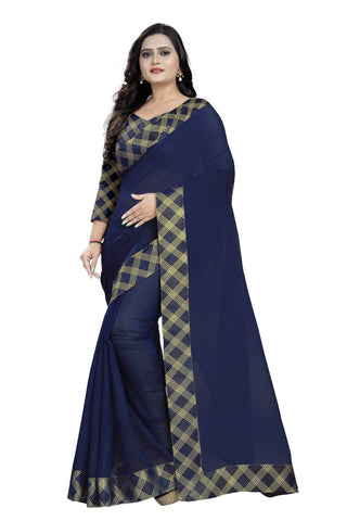 Navy Blue Color Chanderi Women's Saree - chanderi-kaju-katali-NavyBlue