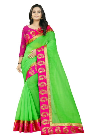 Green Color Chanderi Saree - chanderi-keri
