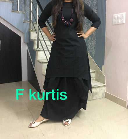 Black Color Cotton Stitched Kurti With Dhoti - chandra-black
