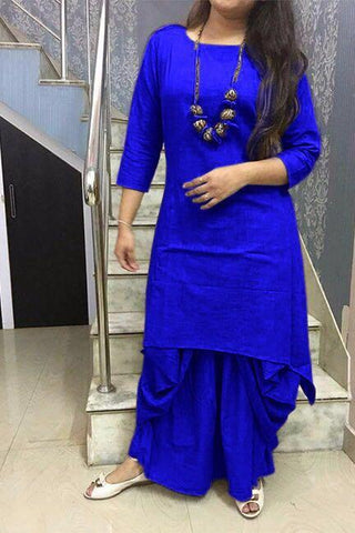 Blue Color Cotton Stitched Kurti With Dhoti - chandra-blue