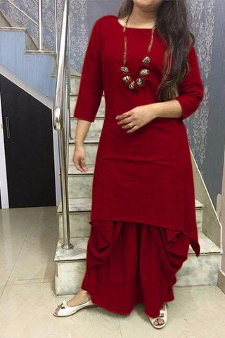 Maroon Color Cotton Stitched Kurti With Dhoti - chandra-maroon