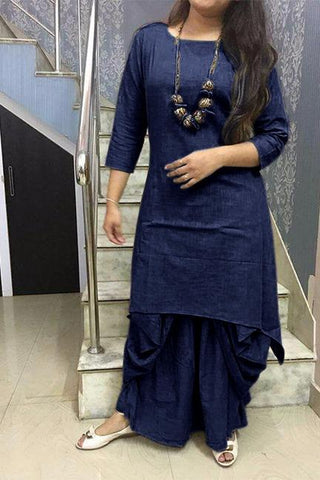 Navy Color Cotton Stitched Kurti With Dhoti - chandra-navy