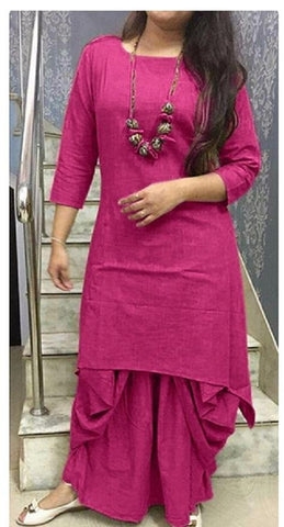 Pink Color Cotton Stitched Kurti With Dhoti - chandra-pink