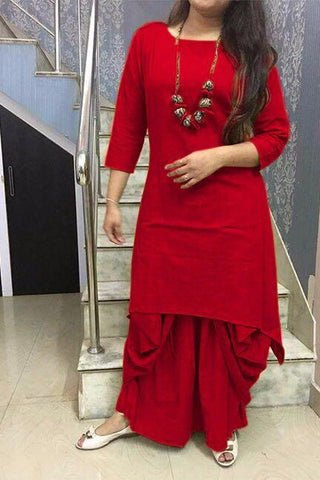 Red Color Cotton Stitched Kurti With Dhoti - chandra-red