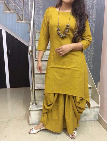 Yellow Color Cotton Stitched Kurti With Dhoti - chandra-yellow