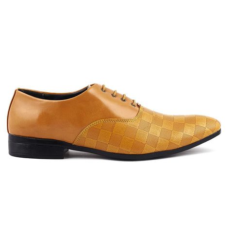 Brown Color Synthtic  Leather Men Shoe - check brown-205
