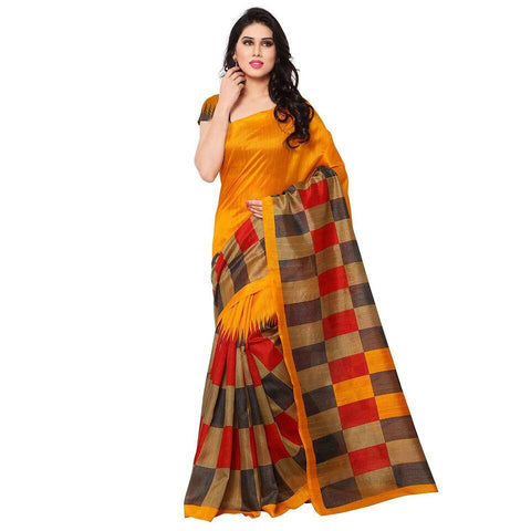 Multi Color Bhagalpuri Saree - checks-01