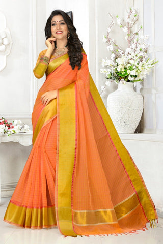 Orange Color Cotton Kota Doria Saree - cheks-Light orange