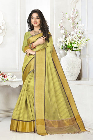 Green Color Cotton Kota Doria Saree - cheks-Mahendi