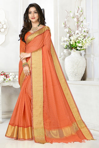 Orange Color Cotton Kota Doria Saree - cheks-Orange