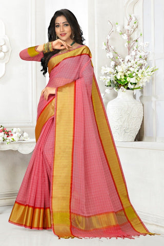 Pink Color Cotton Kota Doria Saree - cheks-Pink red border