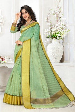 Green Color Cotton Kota Doria Saree - cheks-Pista