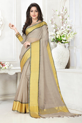 Grey Color Cotton Kota Doria Saree - cheks-graps