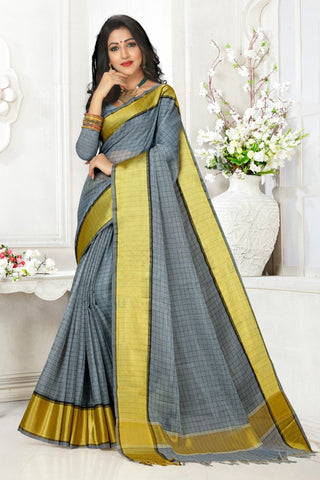 Grey Color Cotton Kota Doria Saree - cheks-light Grey
