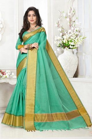 Green Color Cotton Kota Doria Saree - cheks-rama