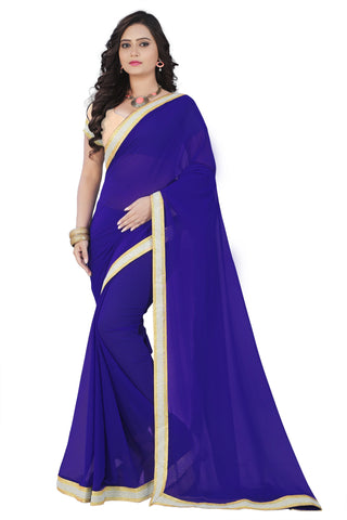 Blue Color Faux Georgette Saree - chinamoti-blue-1