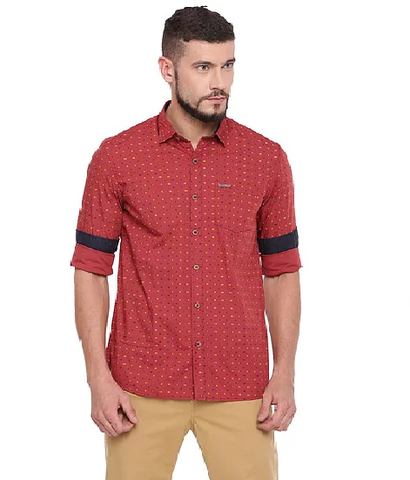UNITED CLUB Men's Red Printed Cotton Causal Shirt - club-11